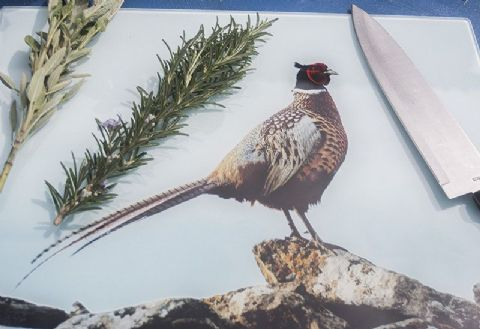 Pheasant Glass Chopping Board Large Size Toughened Glass